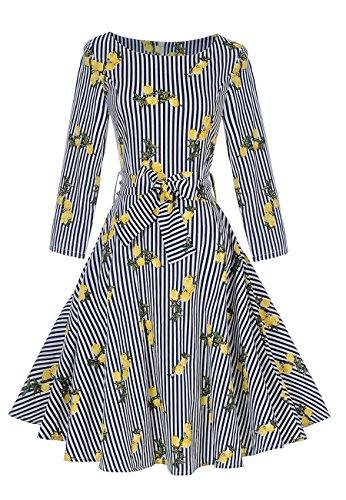gedruckt lange Ärmel 1950er Jahre Vintage Style Swing Kleid Zitrone / L (Zitrone 50er Jahre Kleid)