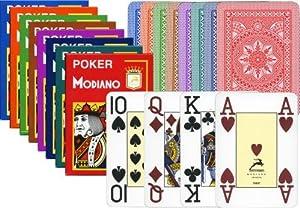 Modiano de Texas Poker 4 Jumbo Verde Claro de discusión - Tarjetas de Texas Poker