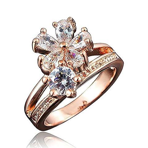 Missrui Elegant Princess Crown Tiara Rainbow Flower Daisy Couple Engagement Ring Gift For Women Girl Wife