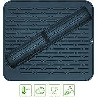 lebefe–grande pieghevole roll up silicone tappetino scolapiatti antibatterico lavabile in lavastoviglie resistente al calore CUCINA svuotare di 45x 40cm grigio