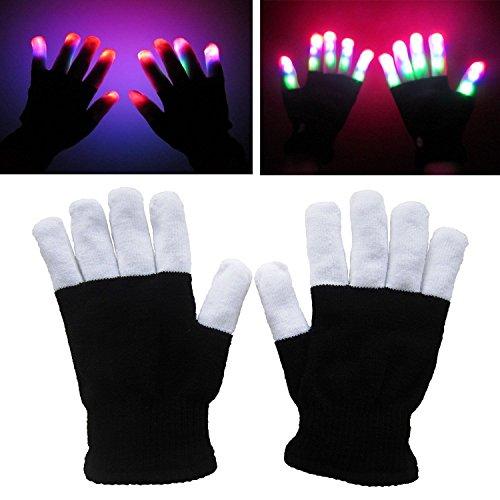 LED Leuchtende Handschuhe, 2win2buy Spielzeug 6 Modus Blinkende Gloves Bunte Finger als Beleuchtung Geschenk zu Halloween Weihnachten Geburtstag Party Tanzen Kostüm für Kinder Mädchen (Kostüme Halloween Geburtstags)