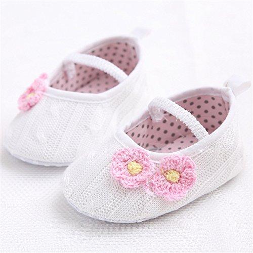 Luerme Baby Mädchen Schuhe Neugeborene Kleinkind Blume Prinzessin Schuhe Weiche Sohle Bequeme Krippeschuhe (9-12 Monate, Rosa) Weiß