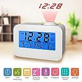 Digitale Wecker LED Digitale Wecker Projektionsuhren Anzeige von Uhrzeit, Datum, Woche, Temperatur und Hintergrundbeleuchtung (Projektionsuhren)