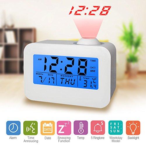 Reloj de alarma digital Reloj despertador digital Reloj de proyección Reloj, fecha, semana, temperatura y luz de fondo (relojes de proyección)