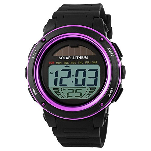 Mann-Dame-Uhr - Skmei solarbetriebene Digital-Mann-Dame wasserdichte Gummisport-Armbanduhr Lila
