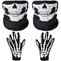 Faburo Skull Face Mask and Skeleton Gloves Set, Ghost Bones Face Mask Scarf and Gloves for Halloween Cycling Party Costume