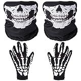 Faburo 2X Schädel Gesichtsmaske mit 1x Skelett Handschuhe Weiße Skelett Handschuhe Set für Erwachsene Halloween Tanzen Kostüm Party