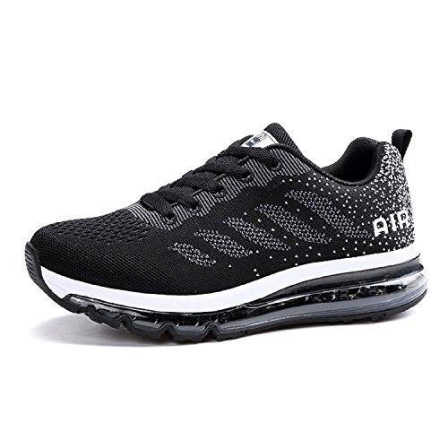 Lily999 unisex uomo donna scarpe da ginnastica corsa sportive fitness gym running basse sneakers casual all'aperto,nero,37 eu