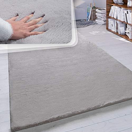 Paco Home Hochflor-Teppich, Shaggy-Teppich Für Wohnzimmer, Weich Einfarbig in Versch. Größen und Farben, Grösse:160x230 cm, Farbe:Grau