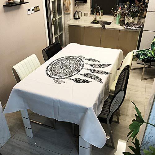 Yating tovaglia zb2116-1 140x140 cm di stoffa per decorazioni in tessuto stampato in poliestere serie dreamcatcher per cucina, sala da pranzo, cortile, bar, festa o picnic