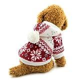 Selmai - Cappotto natalizio con cappuccio per cani di piccola taglia, in pile, con motivo a fiocchi di neve