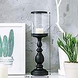 XQY Retro Candlestick Dekoration Kerzenhalter Eisen und Glas Material Schwarz Romantische Mode Haushaltsartikel Zwei Größen,11 * 39cm
