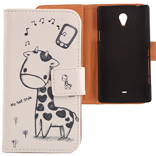 Lankashi PU Flip Leder Tasche Hülle Case Cover Schutz Handy Etui Skin Für Sony Xperia T Lt30P Giraffe Design