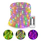 GreenClick LED Rope Lights Battery Operated Waterproof 46ft 120 LED String Lights with Remote Timer 8 Mode Dimmable Fairy Lights For Outdoor Indoor Home Decoration Multi-Color