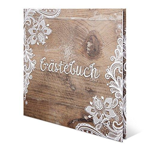 Hochzeit Gästebuch Hardcover - Rustikal - 210 x 210 mm 144 Seiten Weiße Innenseiten Naturpapier