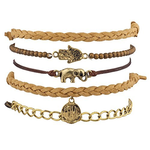 Set de pulseras Lux Accessories, color bermellón, trenzadas y con cuentas, Hamsa,...