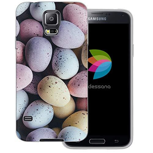 dessana Candy Süßigkeiten Transparente Schutzhülle Handy Case Cover Tasche für Samsung Galaxy S5/Neo Oster Eier