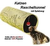 Katzen Rascheltunnel mit Spielzeug 50x25cm Katzenspielzeug Spieltunnel