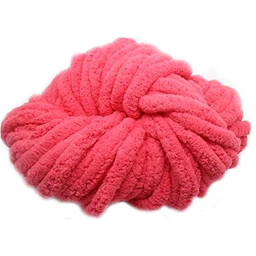 Mode Polyester Strickwolle Garn für handgemachte Schal Pullover Garn Superdick Wassermelone Rot