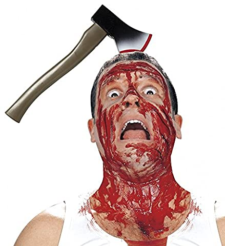 Halloween Accessoire - Axt durch den Kopf (Blutige Kettensäge)