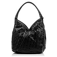 FIRENZE ARTEGIANI.Bolso shopping bag de mujer piel auténtica.Bolso cuero genuino grabado con motivo trenzado geométrico y lacado. MADE IN ITALY. VERA PELLE ITALIANA. 33x33x18 cm …