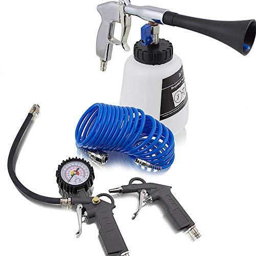 Druckluft Reinigungspistole Auto Kfz Luftdruck Reinigungspistole Waschpistole 1000ml und 3 tlg teiliges Druckluft Zubehör Set für Kompressor Schlauch Reifendruck Ausblaspistole