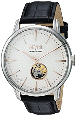 Gevril Men's Analog Swiss-Automatic Watch with Leather Calfskin Strap 9601