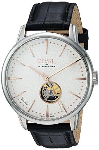 Gevril Mulberry para hombre Swiss–Reloj automático negro correa de piel, a corazón abierto (modelo: 9601)