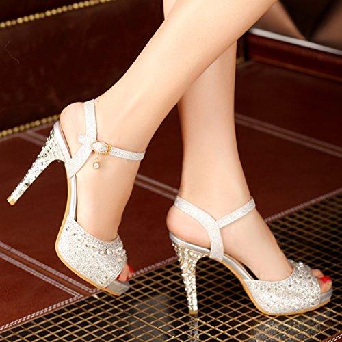 AIYOUMEI Damen Glitzer Peep Toe Knöchelriemchen Sandalen mit Plateau und Schnalle Stiletto Abend Pailletten Schuhe Silber