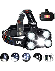 COOLEAD Torcia Frontale Zoomable 10000Lumen 4 Modalità 5 LED Ricaricabile Regolabile Impermeabile Lampada Frontale per Escursioni, Campeggio,Ciclismo,Corsa, Speleologia, Pesca.