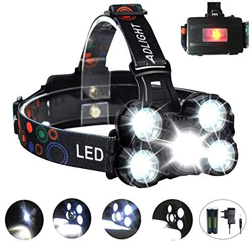 Coolead torcia frontale zoomable 10000lumen 4 modalità 5 led ricaricabile regolabile impermeabile lampada frontale per correre, campeggio, corsa, speleologia, pesca.
