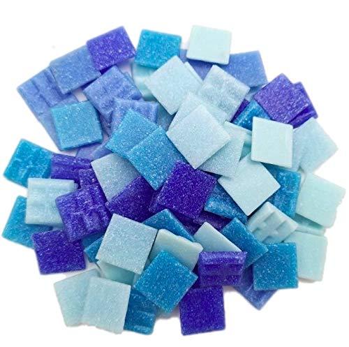 Armena Mosaikstein Mosaikfliesen Glas 2x2cm 250g (Circa 85 Stück) Blau gemischt,