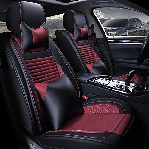 GH Autositzbezug Leder Rutschfest Vier Jahreszeiten Universal Allround-Autositzbezug,Red