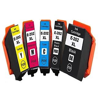 ASW 202XL Kompatibel mit Epson 202XL 202 Tintenpatronen 5-Farben für Epson Expression Premium XP-6000 XP-6005, Schwarz, Foto Schwarz, Cyan, Magenta, Gelb, 5 Stück