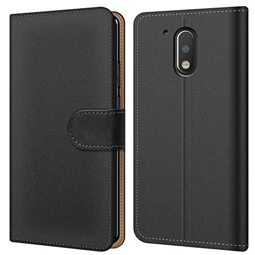 Conie BW23667 Basic Wallet Kompatibel mit Motorola/Lenovo Moto G4 Play, Booklet PU Leder Hülle Tasche mit Kartenfächer & Aufstellfunktion für Moto G4 Play Case Schwarz