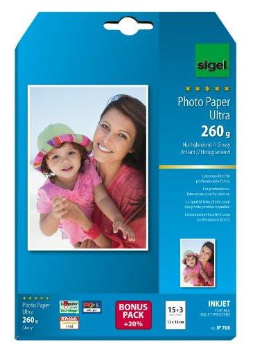 SIGEL IP706 InkJet-Fotopapier Ultra, 13x18 cm, 15 + 3 Blatt gratis, hochglänzend, extrem lichtbeständig, 260 g -