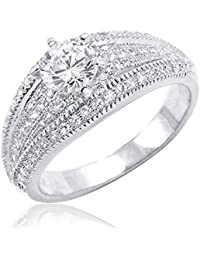 925 Sterling Silver CZ Rings for Women – Brilliant Cut Micro Pave Setting CZ Sterling Silver Ring