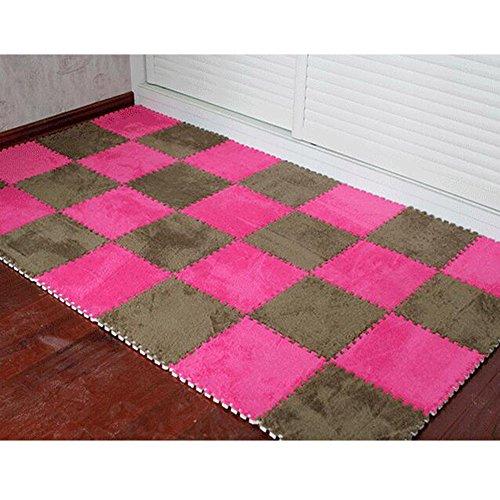 Simwood™ 10pcs Plüsch Teppich Bereichs Wolldecke Zimmer Bodenmatten Puzzlematten Weiche EVA Schaum Teppich Fußmatte Bodenmatte - Eva-plüsch