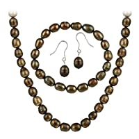 Sterling Silver Freshwater Cultured Brown Pearl Necklace, Bracelet Earring Jewelry Set