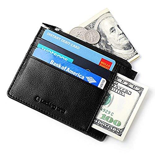 Portafoglio Uomo Piccolo Porta Carte di Credito del Cuoio Genuino con RFID Blocking 10 Tasche Porta Carta d'identità Portamonete Portafoglio Classico e Sottile Minimalista da Lackingo