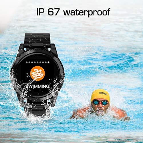 Smartwatch Herren, GOKOO Smart Watch Stylische IP67 Wasserdicht Sportuhren Männer Jungen Fitness Tracker Aktivitätstracker mit Pulsmesser Kalorienzähler Schlaftracker für Android IOS (Schwarz) - 6