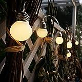 solar string Fairy lights with 15 Bulbs Warm White for Outdoor Garden Chrismas Party Wedding Decoration (Round Bulbs)