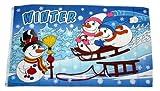 Fahne / Flagge Winter Schneemann Schlitten 90 x 150 cm