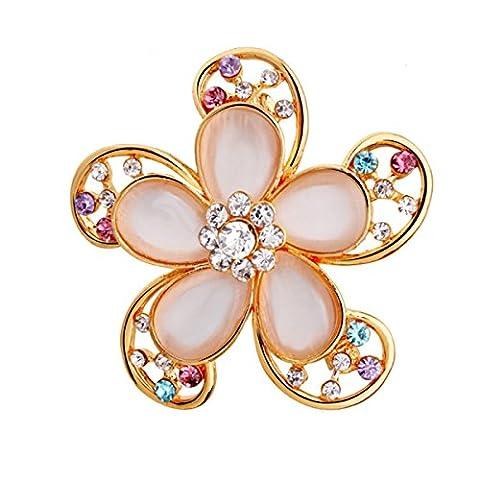 Frau Eine Legierung Brosche Kristall Voller Diamant Fünf Blatt Blume