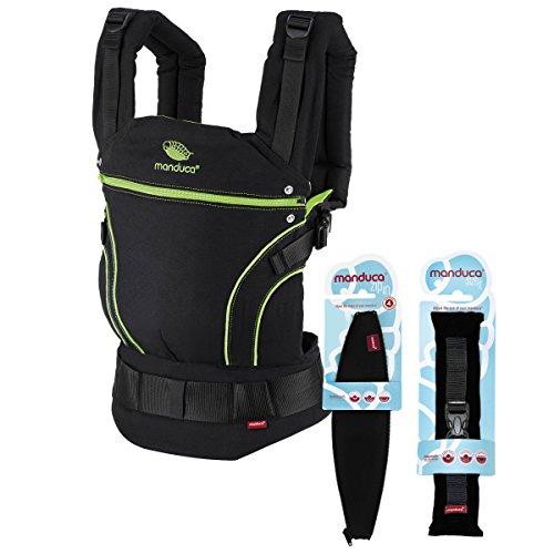 manduca Babytrage BlackLine Premium Bundle > Screamin Green < Optimierte 3P-Sicherheitsschnalle - Von Geburt an Paket incl. SizeIt (Stegverkleinerer) & ZipIn Ellipse (für Neugeborene), schwarz - grün