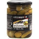 Gourmet SaborEspañol - Cóctel de Aceitunas - verdes y negras enteras con pepinillos y cebollitas extra - 250 g