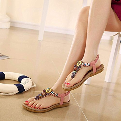 Webla Frauen-Art und Weise süße wulstige Klipp-Zehe-flache böhmische Fischgrät-Sandelholze Rutschfest sandalen Damen flache Schuhe Pink