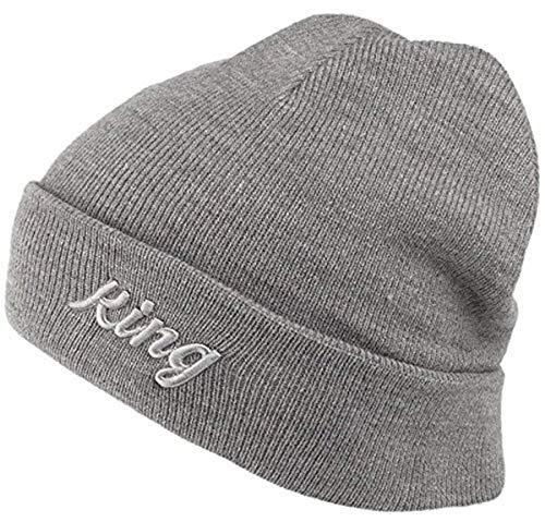 Kings Apparel London Script Grey White Unisex Winter Beanie Hat