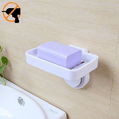 Fealkira Super Powerful Suction Cup Soap Dish Holder Wall Mounted for Bathroom Shower Soap Holder Saver Box Storage Organizer Rack,White ABS Plastic(Single Layer)