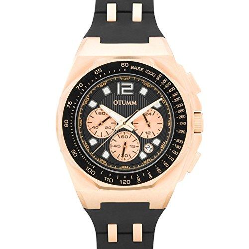 Otumm Sport Tachymeter Chrono Rose Gold Schwarz 45mm Unisex Sport Armbanduhr